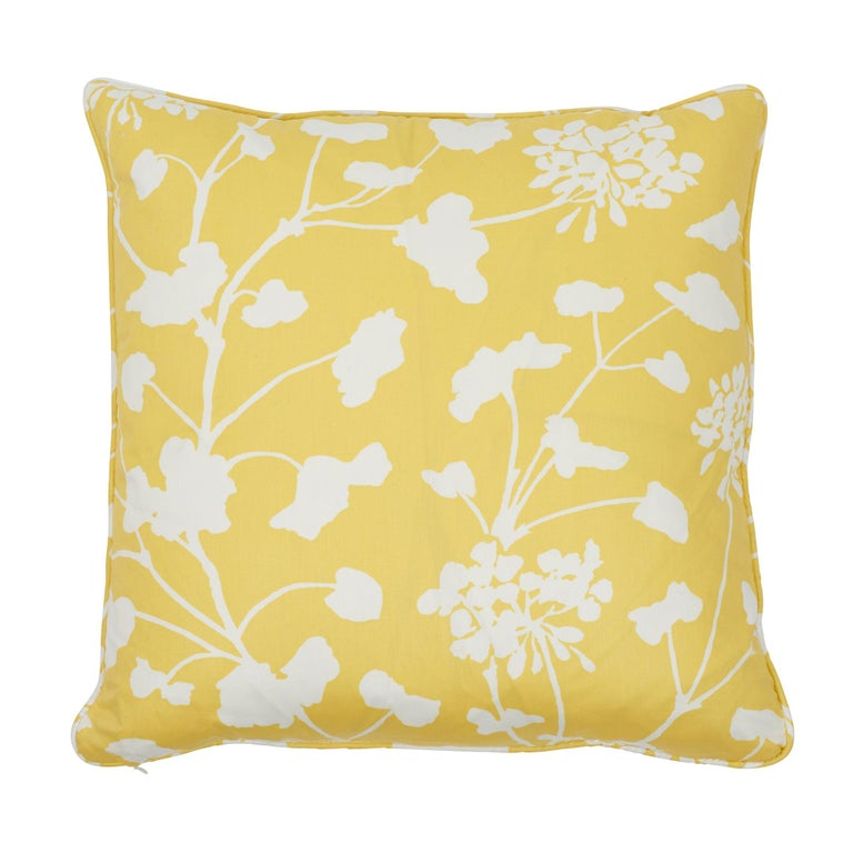Schumacher Pennick Chintz Yellow Two-Sided Cotton Pillow For Sale