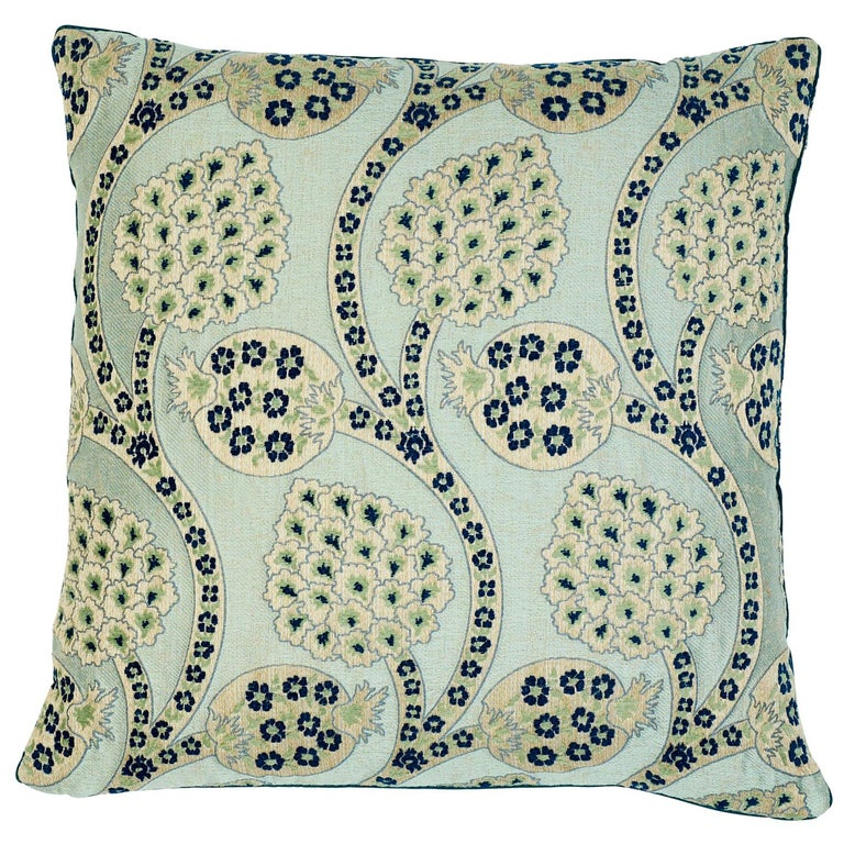 Schumacher Persephone Celestial Two-Sided Cotton Linen Pillow For Sale