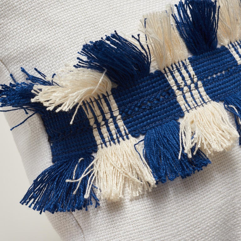 Modern Schumacher Piet Performance Linen Blanc Two-Sided Pillow with Juno Fringe Tape For Sale