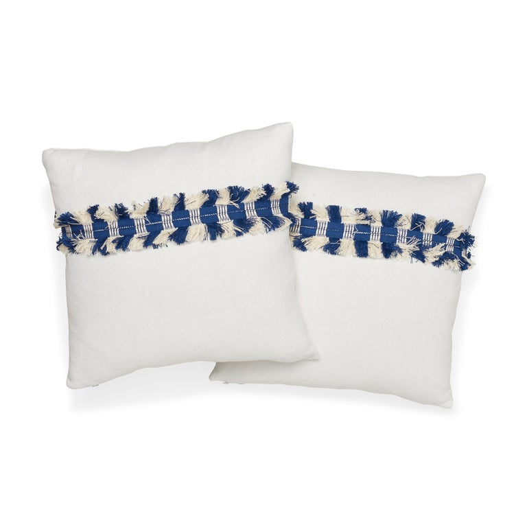 Belgian Schumacher Piet Performance Linen Blanc Two-Sided Pillow with Juno Fringe Tape For Sale
