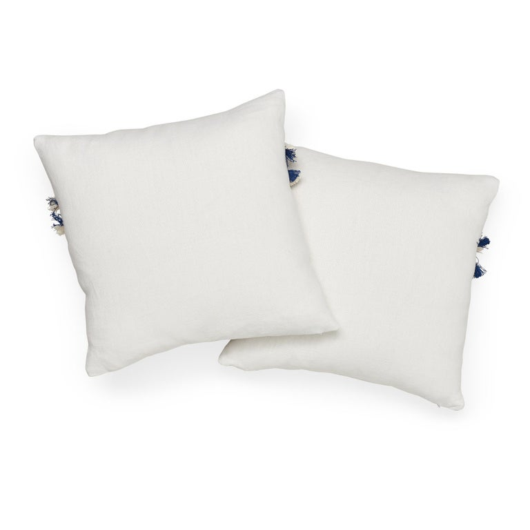 Schumacher Piet Performance Linen Blanc Two-Sided Pillow with Juno Fringe Tape In New Condition For Sale In New York, NY
