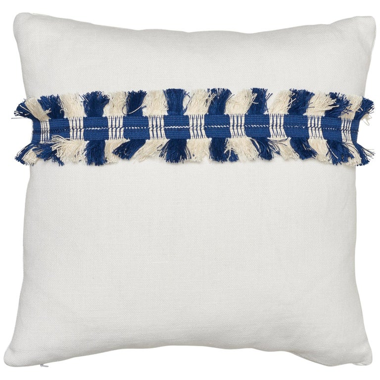 Schumacher Piet Performance Linen Blanc Two-Sided Pillow with Juno Fringe Tape For Sale
