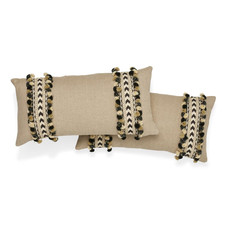 Belgian Schumacher Piet Performance Linen Flax Two-Sided Pillow with Maracana Pom Tape For Sale