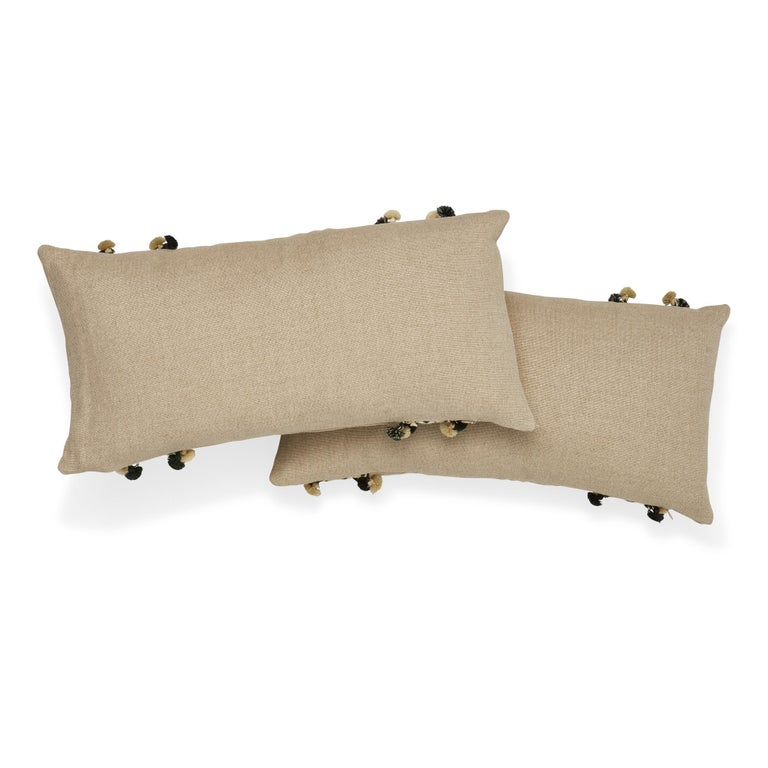 Schumacher Piet Performance Linen Flax Two-Sided Pillow with Maracana Pom Tape In New Condition For Sale In New York, NY