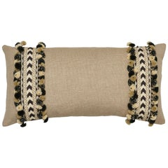 Schumacher Piet Performance Linen Flax Two-Sided Pillow with Maracana Pom Tape