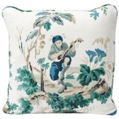 Schumacher Plaisirs De La Chine Pastoral Emerald Green Linen Two-Sided Pillow