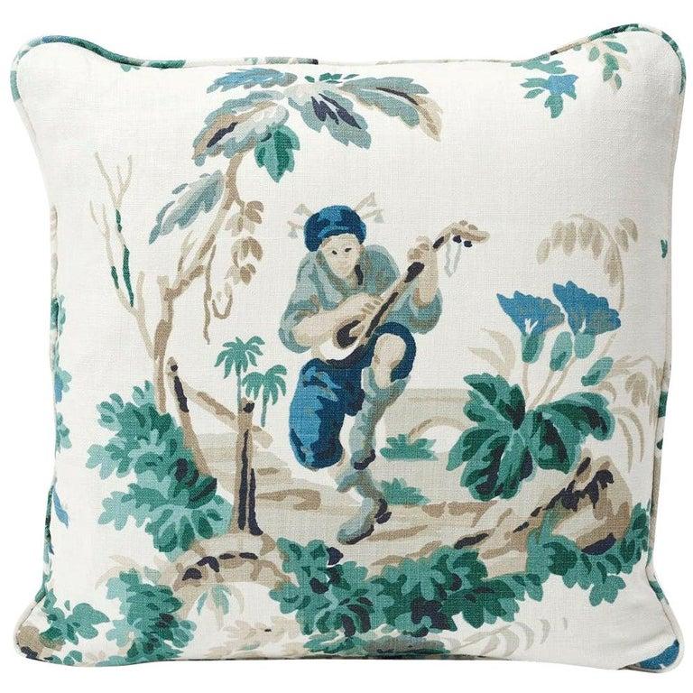 Schumacher Plaisirs De La Chine Pastoral Emerald Green Linen Two-Sided Pillow For Sale