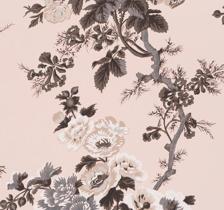 Modern Schumacher Pyne Hollyhock Floral Chintz Blush Wallpaper For Sale