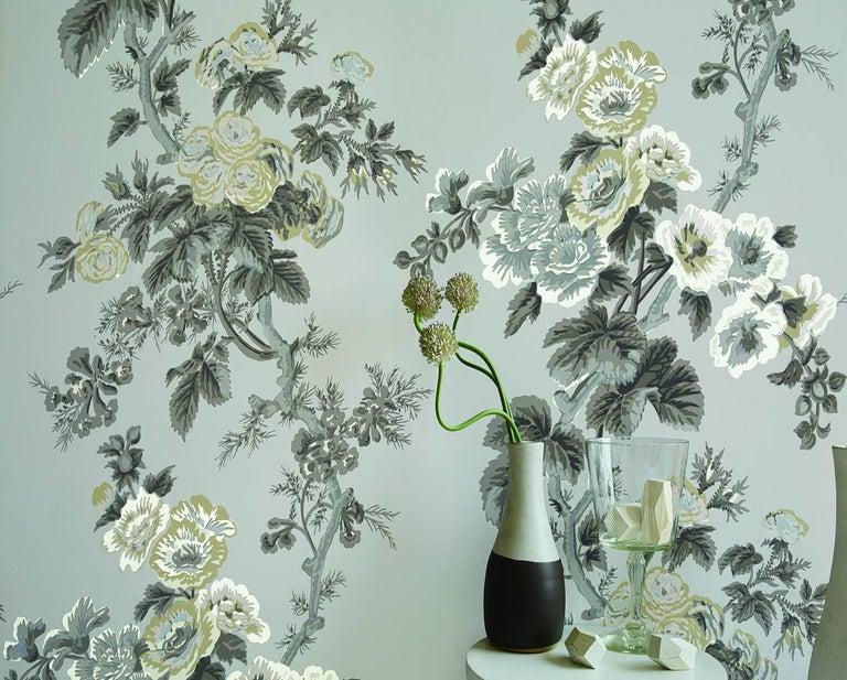 American Schumacher Pyne Hollyhock Floral Chintz Blush Wallpaper For Sale