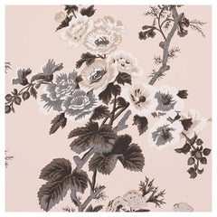 Schumacher Pyne Hollyhock Floral Chintz Blush Wallpaper