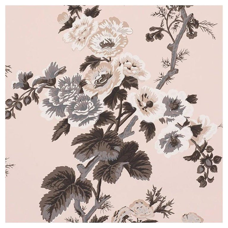 Schumacher Pyne Hollyhock Floral Chintz Blush Wallpaper For Sale
