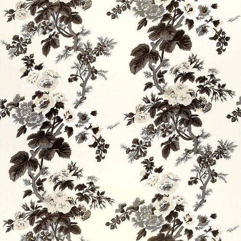 Schumacher Pyne Hollyhock Floral Chintz Charcoal Two-Sided 18
