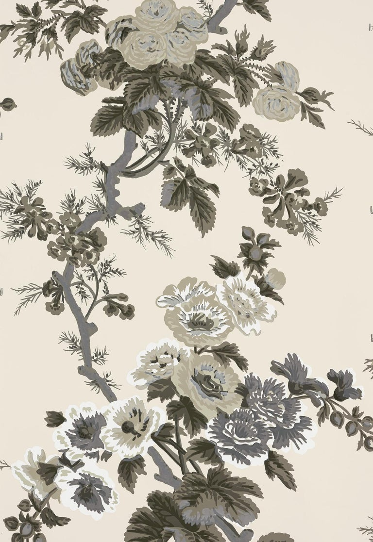 Modern Schumacher Pyne Hollyhock Floral Chintz Charcoal Wallpaper For Sale