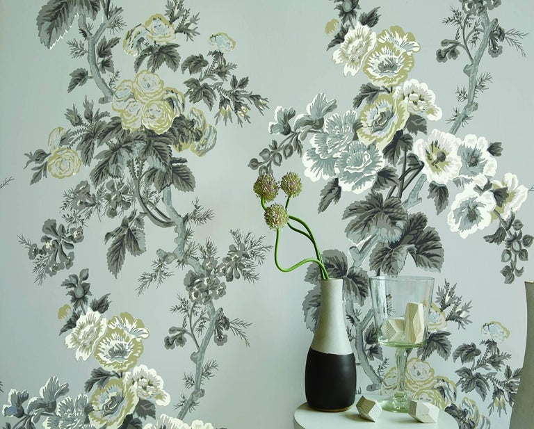 American Schumacher Pyne Hollyhock Floral Chintz Charcoal Wallpaper For Sale