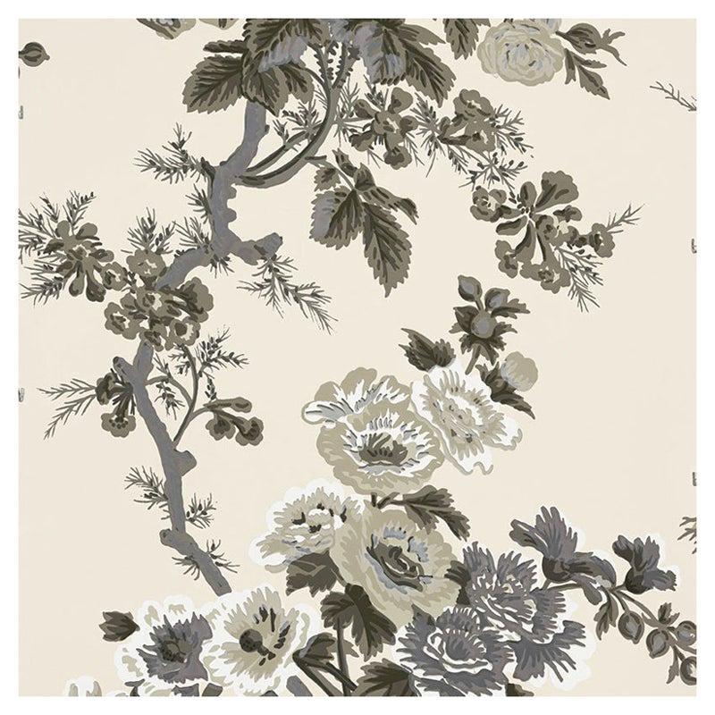 Schumacher Pyne Hollyhock Floral Chintz Charcoal Wallpaper