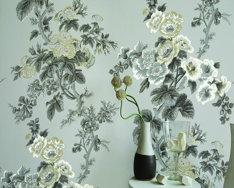 Modern Schumacher Pyne Hollyhock Floral Chintz Grisaille Wallpaper For Sale