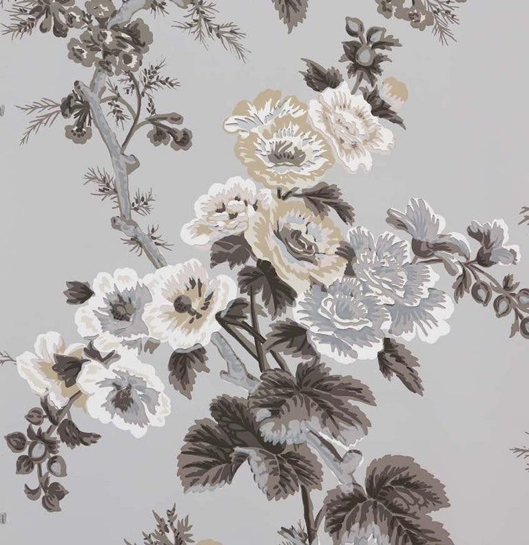 American Schumacher Pyne Hollyhock Floral Chintz Grisaille Wallpaper For Sale