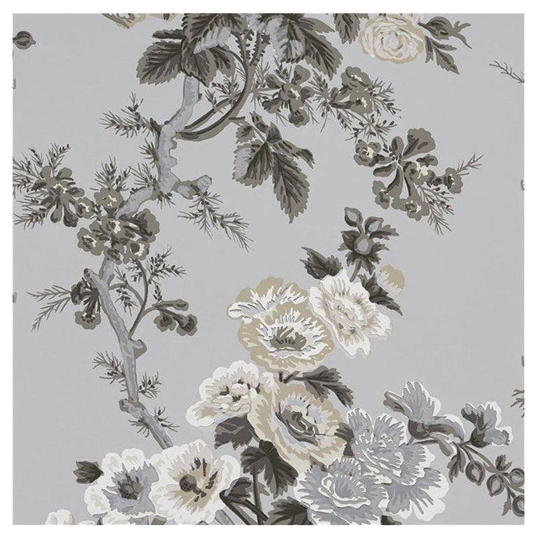 Schumacher Pyne Hollyhock Floral Chintz Grisaille Wallpaper For Sale