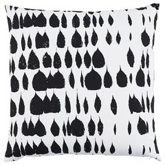 "Schumacher Queen of Spain Mid-Century Black White Two-Sided 22"" Cotton Pillow"
