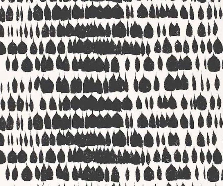 British Schumacher Queen of Spain Midcentury Print Black White Wallpaper For Sale