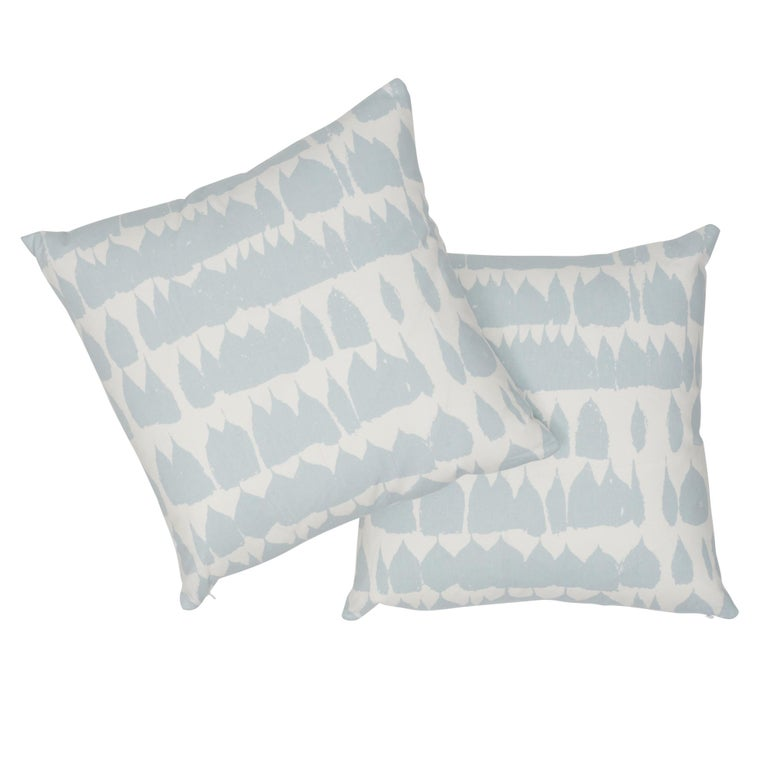 Contemporary Schumacher Queen of Spain Sky Cotton Two-Sided Pillow For Sale