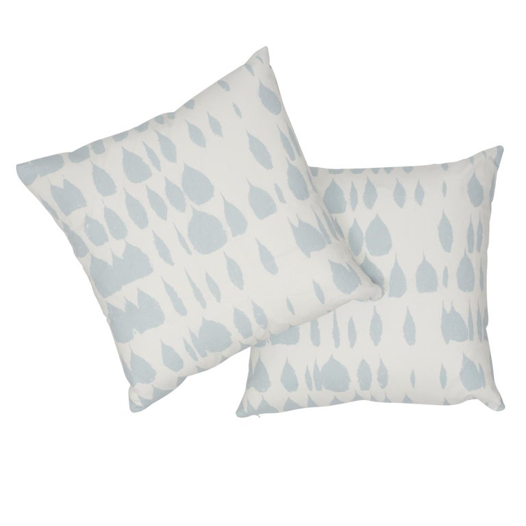 Schumacher Queen of Spain Sky Cotton Two-Sided Pillow For Sale 1