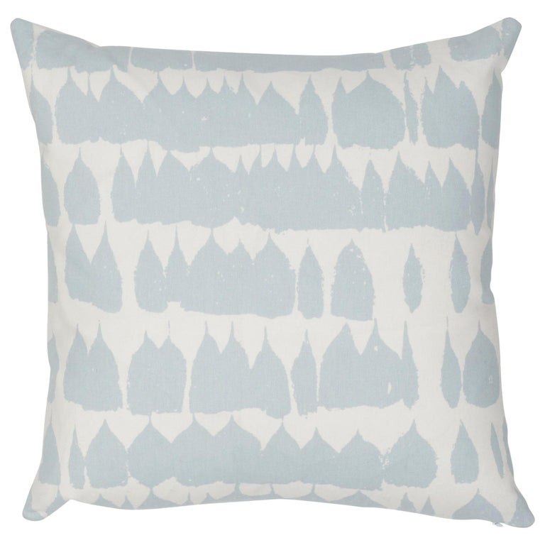 Schumacher Queen of Spain Sky Cotton Two-Sided Pillow For Sale