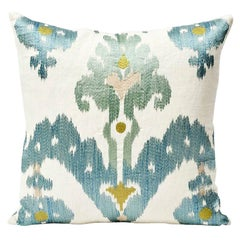Schumacher Raja Embroidery Asian Ikat-Inspired Sky Blue Two-Sided Pillow