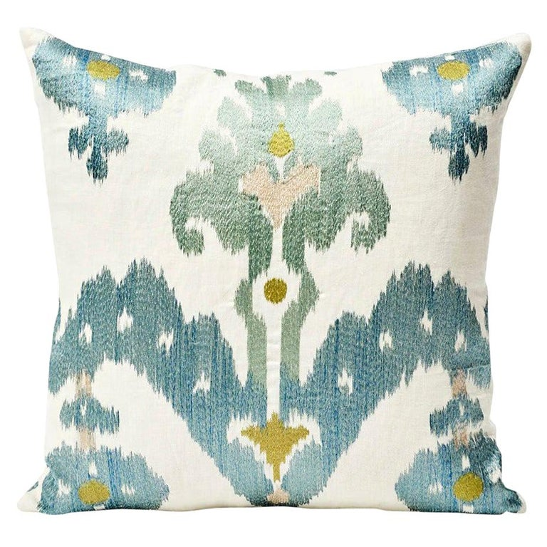 Schumacher Raja Embroidery Asian Ikat-Inspired Sky Blue Two-Sided Pillow For Sale