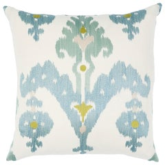 Schumacher Raja Embroidery Pillow in Sky