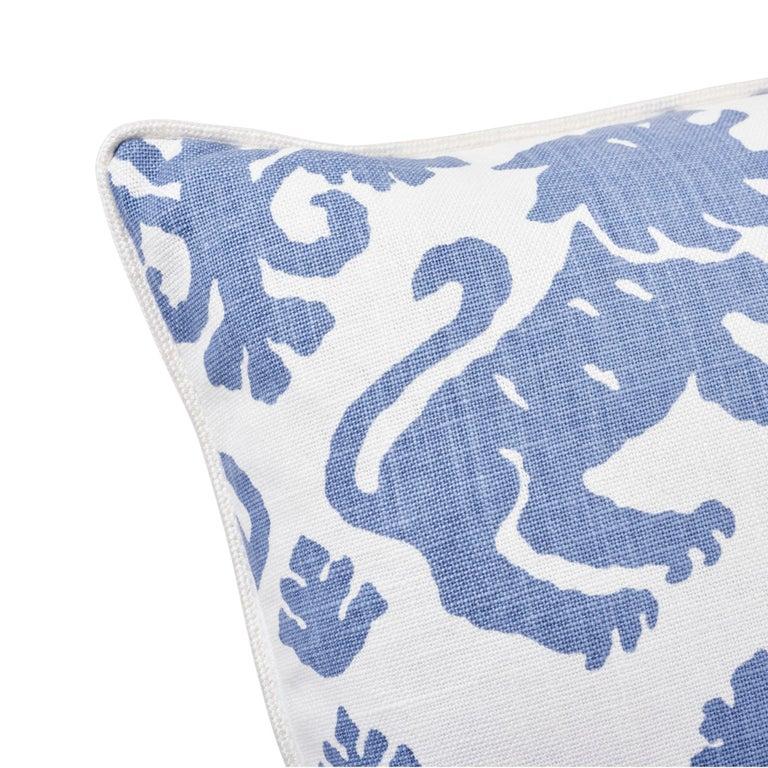 Modern Schumacher Regalia Blue Two-Sided Linen Cotton Pillow For Sale