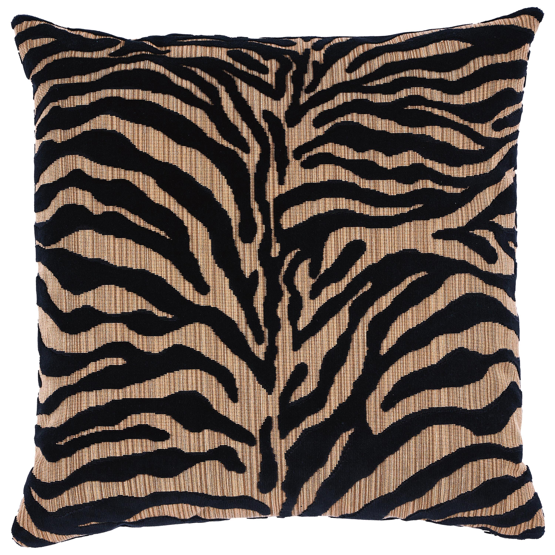 Schumacher Regine Strie Velvet Pillow in Ebony