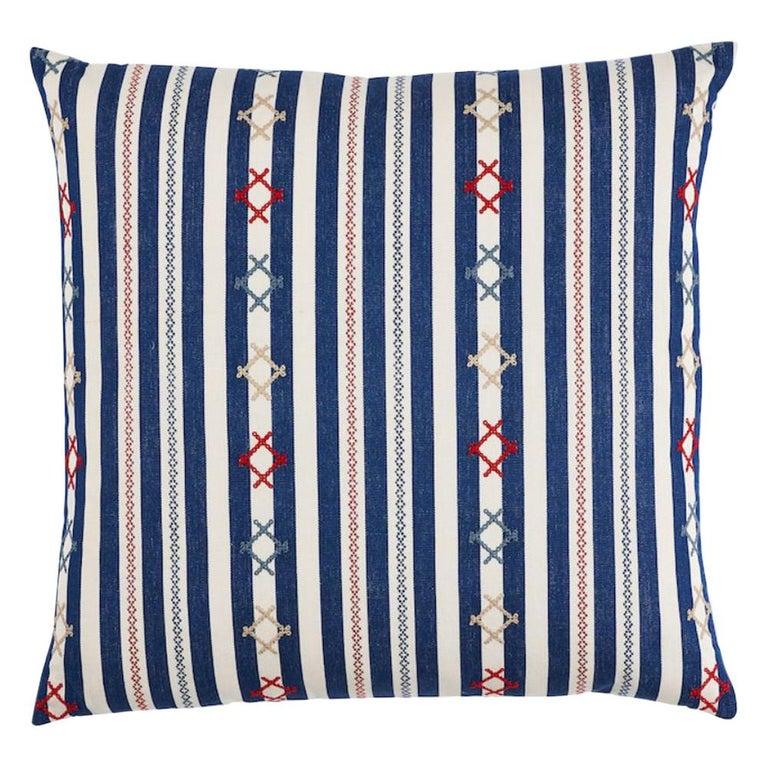 """Schumacher Rhodes Stripe 22"""" Pillow For Sale"""