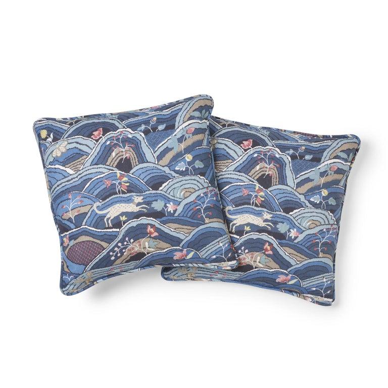 Modern Schumacher Rolling Hills Blue Two-Sided Linen Pillow For Sale