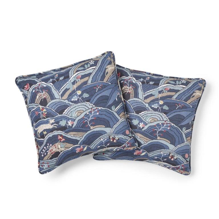 Thai Schumacher Rolling Hills Blue Two-Sided Linen Pillow For Sale