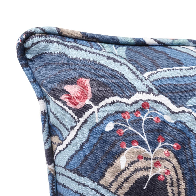 Schumacher Rolling Hills Blue Two-Sided Linen Pillow In New Condition For Sale In New York, NY