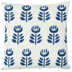 Schumacher Rosenborg Hand Print Pillow in Navy