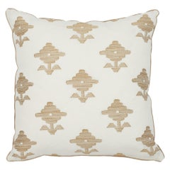Schumacher Rubia Embroidery Ivory Two-Sided Linen Pillow