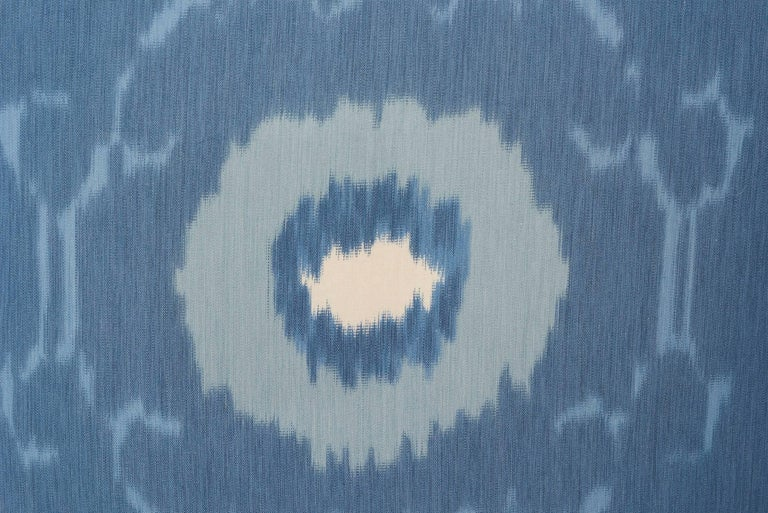 Modern Schumacher Samarkand Ikat II Porcelain Blue Two-Sided 20