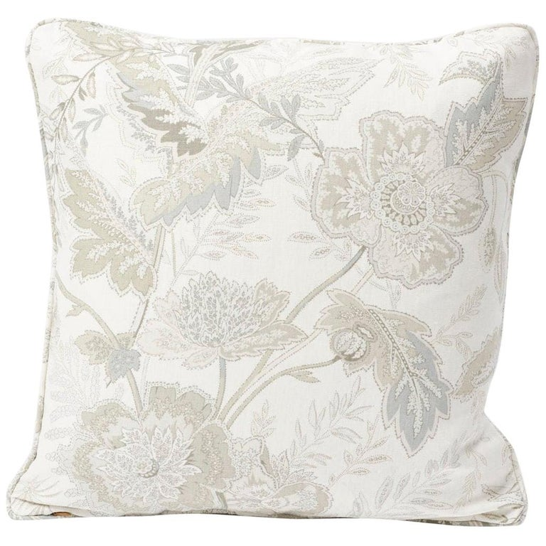 Schumacher Sandoway Vine French Floral Motif White Two-Sided Linen Pillow For Sale