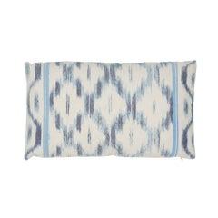 Schumacher Santa Monica Ikat Indigo Cotton Linen Two-Sided Pillow