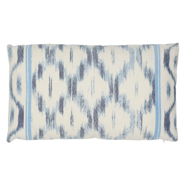 Schumacher Santa Monica Ikat Indigo Cotton Linen Two-Sided Pillow For Sale