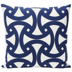 "Schumacher Santorini Indoor/Outdoor Geometric Marine Blue Two-Sided 18"" Pillow"