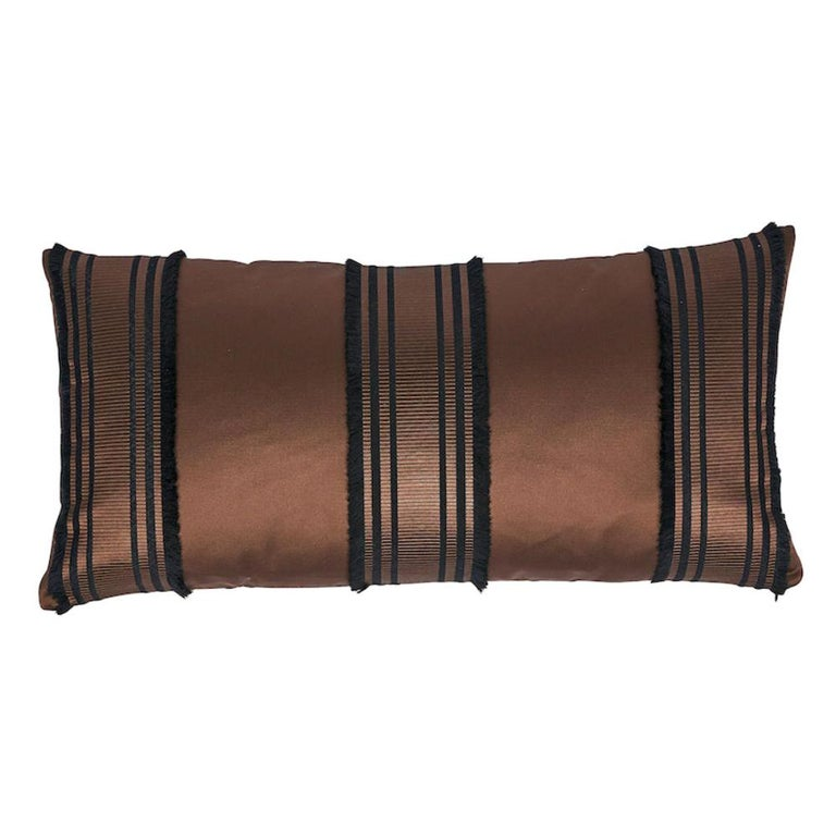 Schumacher Senza Satin Stripe Pillow For Sale