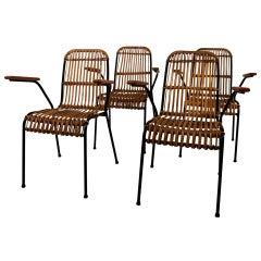 Schumacher Set of 4 Vintage Rattan Garden Chairs