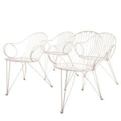 Schumacher Set of 4 Wrought Iron Garden Chairs by Mauser Werke Waldeck