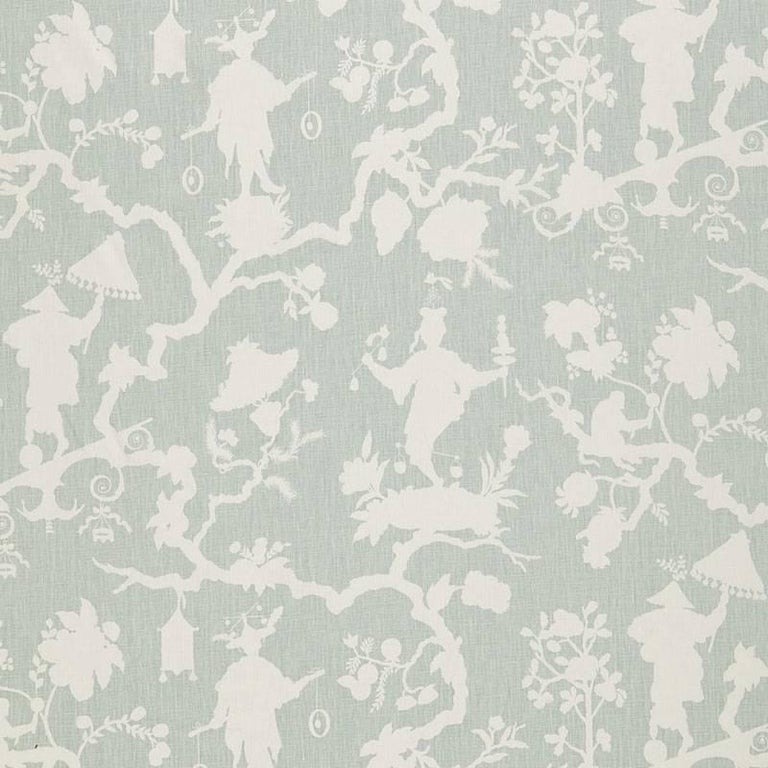 Contemporary Schumacher Shantung Silhouette Chinoiserie Smoke Gray Two-Sided 18