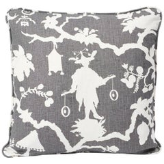 Schumacher Shantung Silhouette Chinoiserie Smoke Gray Two-Sided Linen Pillow