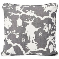 Schumacher Shantung Silhouette Chinoiserie Smoke Gray Two-Sided Linen Pillow