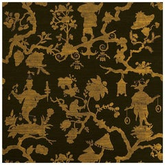 Schumacher Shantung Silhouette Sisal Chinoiserie Wallpaper in Gold on Jet